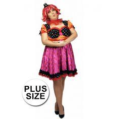 Grote maat clown Antonella jurk voor dames. Clown kostuum Antonella voor dames inclusief rode kraag. Gemaakt van 100% polyester.