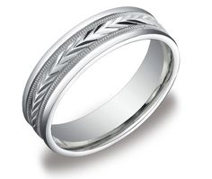 10k White Gold 6mm Comfort Fit Round Edge Men's Wedding Band with Wheat Fill Design In Center  $wedding engagement ring$  http://j.mp/RoT9wU