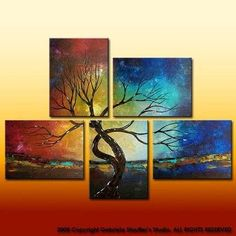 five piece colorful tree