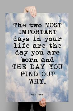 """Printable art , Literary Quote , Mark Twain quote, Printable Quotes , Instant download, """"The two most important days..."""" by QuotesandProse on Etsy"""