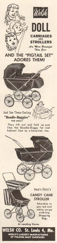 1950s vintage WELSH Doll Carriage BABY BUGGY Stroller Boodle Buggies TOY AD