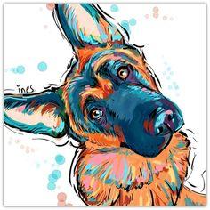 German Shepherd love Art Print