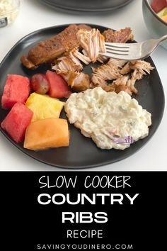 Come home to a super tender and flavorful dinner when you make Slow Cooker Country Ribs! It is a fast and easy dinner recipe! This is also a great crock pot freezer meal. Rib Recipes, Easy Dinner Recipes, Crockpot Recipes, Keto Recipes, Crock Pot Freezer, Freezer Meals, Easy Meals, Country Ribs Recipe, Slow Cooker