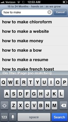 "Why is it that when I typed ""how to make"" into the search engine that ""chloroform"" was listed first??? Creeper status!!!"