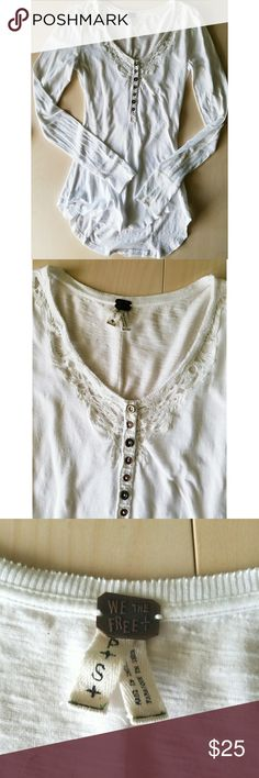 Free People Long Sleeve Lace Detail Top We The Free - Free People brand. Size small. High low design allowing the back to hang longer. Detail on back is different. Lace detail and buttons in front. Free People Tops Tees - Long Sleeve