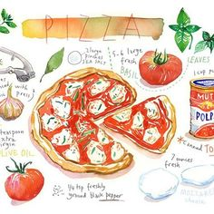 Instagram photo by @lucileskitchen via ink361.com Cake Illustration, Food Illustrations, Recipe Drawing, Pizza Art, Mini Pizza, Kitchen Posters, Food Journal, Food Drawing, Kitchen Art