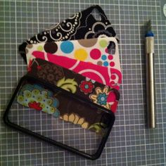 I bought a clear iPhone case, then cut old Thirty-one swatches to fit  @Peggy Lambert - this is a great idea for Kara too!