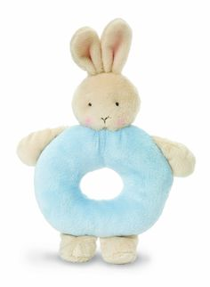 """Bunnies By The Bay Bunny Ring Rattle, Blue. 100% knitted polyester. It is imported. Bunny ring rattle, Pastel blue, Super soft, Machine wash, tumble dry low, Measures 6""""."""
