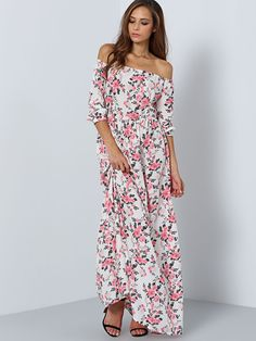 Vestido hombro al aire flores maxi-(Sheinside)