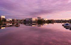 Oulu, Suomi, Auringonlasku, Rakennukset, Joki, Vesi