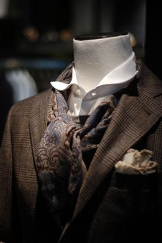 Canali key collection jacket, unlined with soft shoulders in wool/cashmere/silk. Stenströms paisley scarf, Barba Napoli shirt and Lardini kn...