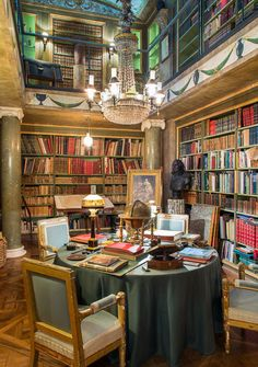The Library of the Château du Champ de Bataille in Normandy, France