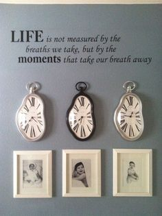 Idea for wall. capturing special moments in our lives (wedding day, son's birth, etc). Family Wall, Family Room, Family Clock, Home Projects, Projects To Try, Objet Deco Design, Photo Displays, My Living Room, Picture Wall