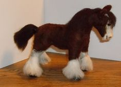 Handcrafted one of a Kind Needle Felted Clydesdale