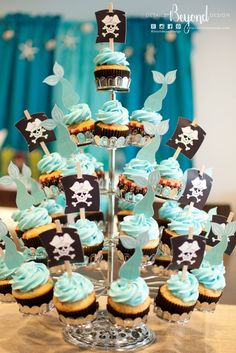 Mermaid Tails and Pirate Sails Cupcake Toppers (made by Details Beyond Design) Twin Birthday, Pirate Birthday, Mermaid Birthday, Birthday Ideas, Birthday Quotes, Party Mottos, Joint Birthday Parties, Twins 1st Birthdays, Mermaid Cakes
