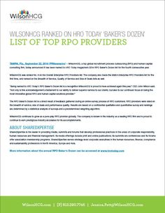 WilsonHCG ranked on HRO Today 2014 Bakers Dozen List of Top RPO Providers