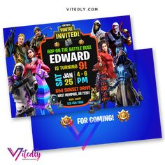 Fortnite Invitation with FREE Thank you card! Digital Files will be delivered within or less! FREE Thank you card included! Digital Invitations, Birthday Invitations, E Invite, Free Thank You Cards, File Format, Text Messages, Rsvp, Facebook, Printed
