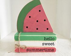 Wooden Books, Painted Books, Stack Of Books, Mini Books, Wooden Firecrackers, Summer Mantle Decor, Watermelon Decor, Wooden Truck, Summer Signs