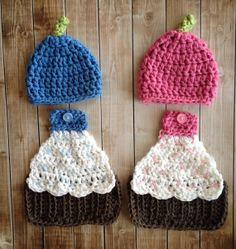 Twin Cupcake Hats and Cuddle Capes Set by mamamegsyarnshoppe, $70.00
