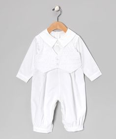 Loving this White Collared Christening Romper & Smocked Vest - Infant on #zulily! #zulilyfinds