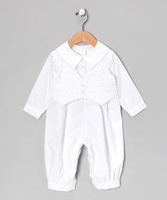 Look at this #zulilyfind! White Collared Christening Romper & Smocked Vest - Infant #zulilyfinds