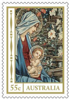 Madonna  Child , Australian stamp
