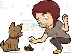 A Woman Picking Up A Dog Turd :  A woman with reddish brown hair wearing a pale brownish beige shirt brown leggings and yellow shoes frowns in disgust as she squats down to pick up the brown poo of her brown dog using her right hand  The post A Woman Picking Up A Dog Turd appeared first on VectorToons.com.