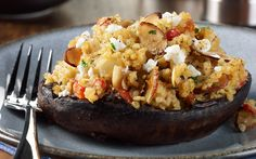 Portobello Mushrooms with Almond Bulgur Stuffing | Almond Board of California
