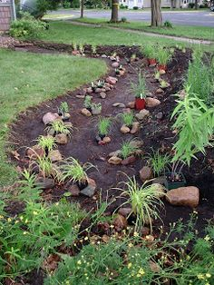 I love rain gardens! This is: Bottom layer of rain garden. - I love rain gardens! This is: Bottom layer of rain garden. Bog Garden, Water Garden, Rain Garden Design, Yard Drainage, Rainwater Harvesting, Dry Creek, Front Yard Landscaping, Landscaping Ideas, Inexpensive Landscaping