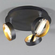 Strahler Double 3 rund schwarz - Deckenleuchten - Innenbeleuchtung - lampenundleuchten.at