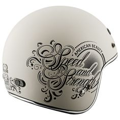 The Speed and Strength SS600 American Beauty 3/4 helmet is lined with quilted comfort lining and built with a T.P.A. Thermo-Plastic Alloy shell that meets or exceeds DOT standards. The 1140 gram women's motorcycle helmet contains a Double 'D' D-Ring retention system and an Air Strike direct course ventilation system for proper air flow circulation.