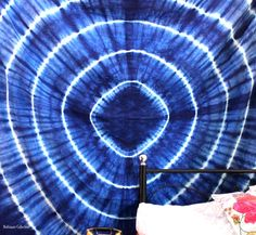 Add a colorful touch to your dorm space or apartment by hanging this cool Tie dye tapestry. This trippy tapestry is Handmade from 100% Cotton. The colors used in this wall hanging or Bedspread will match your bedroom decor. Shop this Bohemian tapestry at affordable price. Beautiful psychedelic tapestry wall hangings is one of the gorgeous piece and from latest tapestry Collection for Bohemian and trendy Home decor.  This Bohemian Blue Tapestry wall hangings or beach tapestry can be used