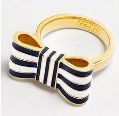 Coach Poppy Bow Navy Blue and White Stripe  Ring Band ...can't find it anywhere!!