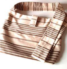 CrossBody Hobo Bag in Striped Biege and Brown  by PhreshThreadz