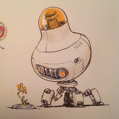 If I had a shot at designing Wall-e this is where I'd go. This drawing will be in my new book DRAWINGS which Kickstarts tonight! by jakeparker