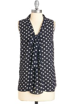 South Florida Spree in Navy Dots. Take your wardrobe on a vivacious Miami vacation with this navy-blue top! #blue #modcloth