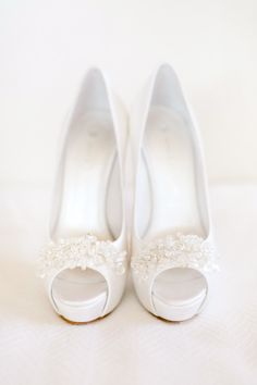 A fun twist on classic white wedding shoes: http://www.stylemepretty.com/little-black-book-blog/2015/05/21/romantic-laduree-inspired-tuscany-beach-wedding/ | Photography: Facibeni Fotografia - http://www.photographertuscany.com/