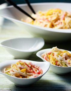 Spicy Kani Salad (Healthy if you sub the mayo)    Optional add ins: seaweed salad, tobiko, sesame seeds, roasted eel, sesame oil