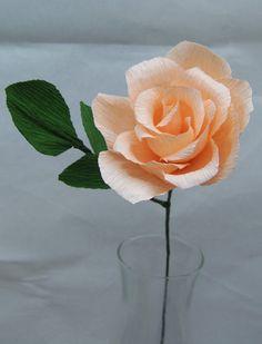 Single Peach Rose Long Stem Heavy Crepe Paper Full Bloom Rose -- The Perfect…