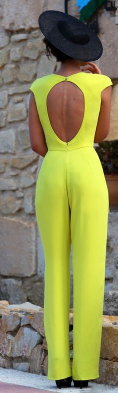 Silvia Navarro Bright Yellow Open Back New Collection Jumpsuit