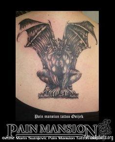 GARGOYLE ON BACK TATTOO PAIN MANSION OSIJEK Tattoo Pain, Back Tattoo, Fallen Angel Tattoo, Gargoyle Tattoo, Mansion, Tatting, Ink, Future, Design