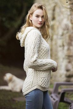 Women's Shirt Tail Hood Cardigan - Natural