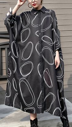 New-black-silk-polyester-dresses-plus-size-prints-traveling-dress-boutique-batwing-sleeve-shirt
