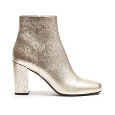 Saint Laurent Babies leather ankle boots (2,080 ILS) ❤ liked on Polyvore featuring shoes, boots, ankle booties, gold, leather ankle bootie, round toe booties, leather booties, mid calf booties and block heel ankle boots