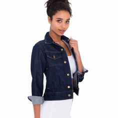 Womens Vintga Cowboy Coat Jean Jacket (M, Blue) -- Awesome products selected by Anna Churchill
