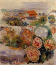 worldpaintings: Pierre-Auguste Renoir (French 1841-1919) ~ Landscape, Flowers and Little Girl; oil on canvas, private collection.