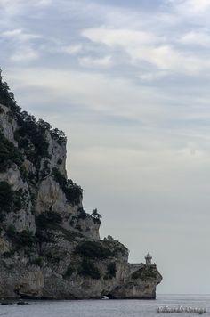 Faro del Caballo by Eduardo Ortega Fotógrafo-Vista del faro del Caballo desde el mar. En el monte Buciero Santoña Cantabria-Spain