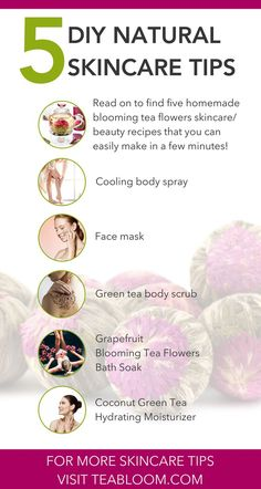 Blooming Tea Flowers are included in 5 amazing DIY skin care tips Aloe Vera For Face, Aloe Vera Face Mask, Diy Skin Care, Skin Care Tips, Skin Tips, Beauty Tips Using Aloe Vera, Tomato Face, Flower Tea