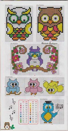 My Corner: Owls in Point Cruz ! Cross Stitch Owl, Cross Stitch Cards, Cross Stitch Borders, Cross Stitch Animals, Cross Stitch Kits, Cross Stitch Designs, Cross Stitching, Cross Stitch Embroidery, Embroidery Patterns