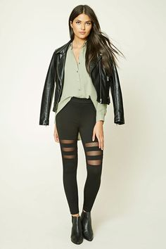 Forever 21 Contemporary - A pair of knit leggings featuring striped mesh panels and an elasticized waist.